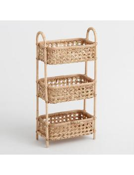 Natural Rattan Cane 3 Tier Farrah Storage Tower by World Market