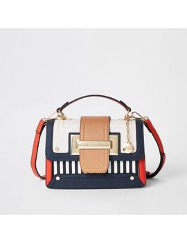 Navy Stripe Contrast Satchel Bag                                    Red Stripe Cutabout Panel Slim Foldout Purse                                      Beige Stripe Cutabout Panel Cliptop Purse by River Island