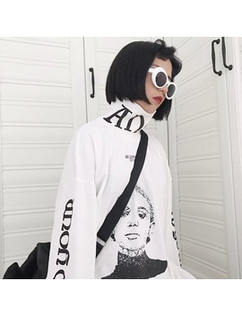 Japanese Funny Character Graphic Oversize Turtleneck Pullovers Hoodie Sweatshirt Women Autumn 2018 Harajuku Loose Sweatshirts by Mokeelo Moutain