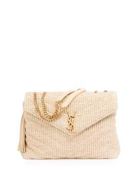 Medium Soft Raffia Chain Shoulder Bag, Light Beige by Neiman Marcus