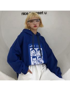 Fashion Sweatshirts Women 2018 Korean Ulzzang Harajuku Cartoon Printed Loose Hooded Sweatshirt Hoodies Female Casual Clothing by You Ge Man