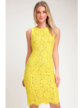 Corita Yellow Lace Sleeveless Midi Dress by Lulus