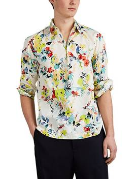 Watercolor Floral Cotton Voile Popover Shirt by Barena Venezia