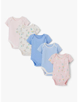 John Lewis & Partners Baby Gots Organic Cotton Bunnies Short Sleeve Bodysuits, Pack Of 5, Multi by John Lewis & Partners