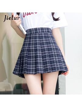 Jielur 2019 College Sweet Girls Plaid All Match Bottom S Xl High Waist Slim A Line Mini Skirt Pink Khaki Red Kpop Fashion Faldas by Jielur