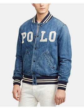 Men's Varsity Inspired Denim Jacket by Polo Ralph Lauren