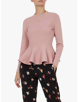Ted Baker Hinlina Peplum Jumper, Blush by Ted Baker