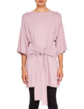Ted Baker Ted Says Relax Olympy Tie Front Knitted Tunic Dress, Pink by Ted Baker