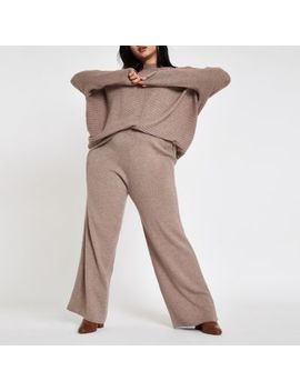 Plus Light Brown Knitted Trousers by River Island