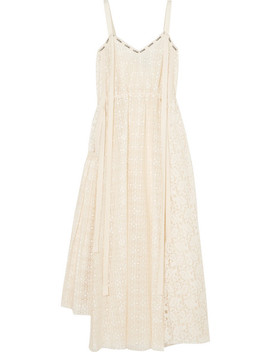 Logo Print Cotton Blend Lace Midi Dress by Loewe