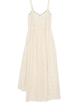 Logo Print Cotton Blend Lace Midi Dress by Loewe