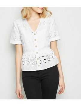 White Cut Out Embroidered Peplum Top by New Look