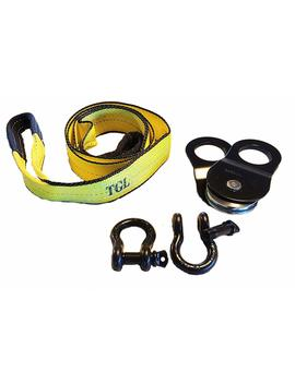 "3"", 8' Tree Saver, Tow Strap With 2 Pack D Ring Shackles And 10 Ton Snatch Block by Tgl"