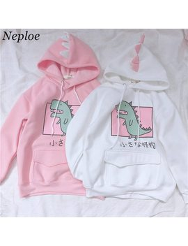 Neploe Japanese Fleece Thick Hoodies Cartoon Dinosaur Printed Sweatshirt Women's Clothes Sweet Hooded Drawstring Pullover 37416 by Neploe