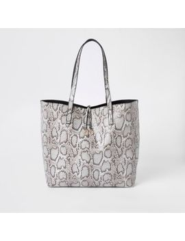 Light Grey Snake Print Large Tote Bag by River Island