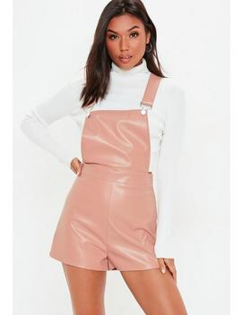 Pink Pu Skort Pinafore Playsuit by Missguided