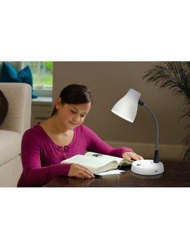 Verilux Tazza Natural Spectrum Desk Lamp, Adjustable Easy Flex Gooseneck, In Base Usb Charging Port, 2 Prong Outlet by Verilux