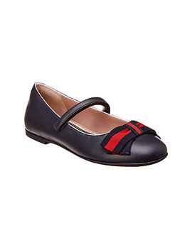 Gucci Web Leather Ballet Flat by Gucci