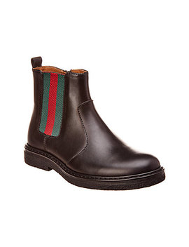 Gucci Web Leather Boot by Gucci