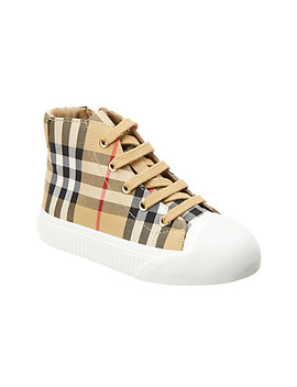 Burberry Housecheck & Leather High Top Sneaker by Burberry