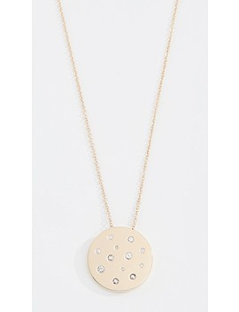 14k Sapphire Speckled Disc Necklace by Ef Collection
