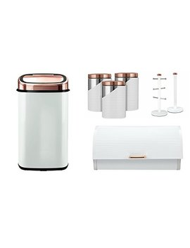 Set Of 7 Tower Rose Gold & White Linear Stylish Kitchen Accessories   Rose Gold & White 58 L Square Senor Bin, Linear Bread Bin, Set Of 3 Canisters And Towel Pole And Mug Tree by Tw