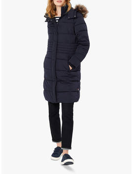 White Stuff Thirlmere Long Puffer Coat, Navy by White Stuff