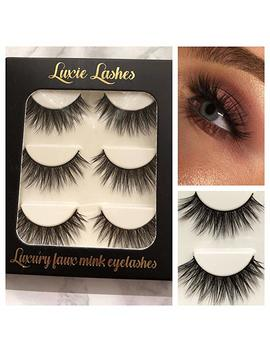 Luxie Lashes 3 D Luxury Fluffy Faux Mink Natural Strip Fake Long Eyelashes Multipack   3 Pairs Pack Cruelty Free (Elvira) by Luxie Lashes