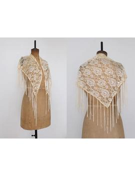 Vintage 90s Does 70s Beige Floral Lace Shawl by Etsy