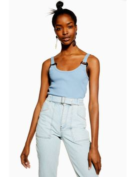 Buckle Ribbed Crop Cami by Topshop