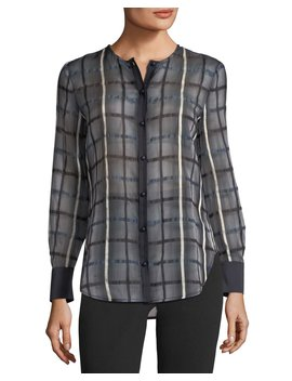 Button Front Long Sleeve Checkered Blouse by Neiman Marcus