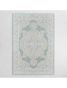 Light Blue Medallion Tufted Wool Blend Wren Area Rug by World Market