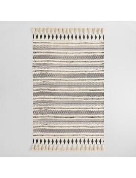 Ivory And Black Moroccan Cotton Shag Area Rug by World Market