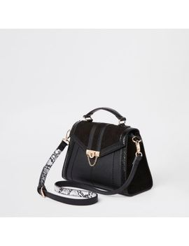 Black Mini Lock Front Wing Cross Body Bag by River Island