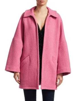 Husk Open Front Chevron Wool Coat by Rachel Comey