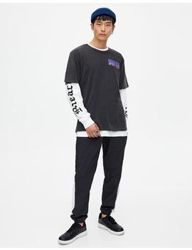 Camiseta Negra Texto Degradado by Pull & Bear