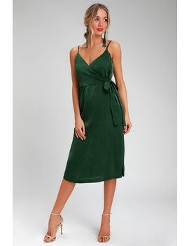Fall In Love Forest Green Satin Midi Wrap Dress by J.O.A.