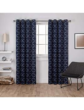 Exclusive Home Cartago Insulated Woven Blackout Grommet Top Curtain Panel Pair, Peacoat Blue, 54x84, 2 Piece by Exclusive Home Curtains