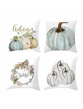 Rambling Pumpkin Throw Pillow Cover, 4 Pack Halloween Thanksgiving Autumn Decor Throw Pillow Case Cushion Covers For Halloween Decoration 18 X 18 Inch by Rambling