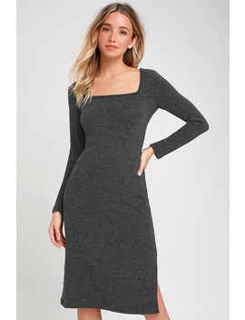 Rona Charcoal Grey Knit Long Sleeve Midi Sweater Dress by Lulus