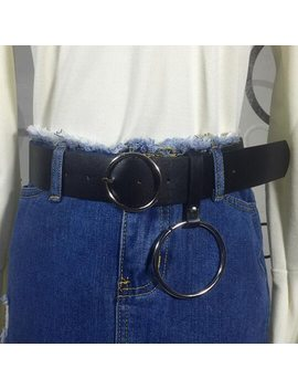 Ceinture Femme Large 2018 Korean Style Harajuku Solid Belt Women Fashion Buckle Ring Black Pu High Quality Female Belts by You Ge Man