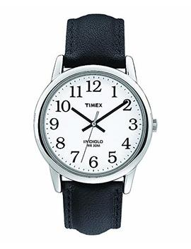 Timex Men's T20501 Quartz Easy Reader Watch With White Dial Analogue Display And Black Leather Strap by Timex
