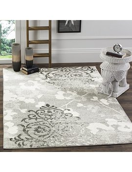 Safavieh Adirondack Collection Adr114 B Silver And Ivory Contemporary Chic Damask Square Area Rug (8' Square) by Safavieh