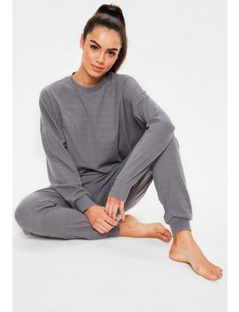 Blue Soft Touch Ribbed Lounge Set by Missguided
