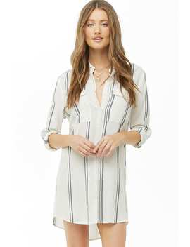 Striped Gauze Woven Shirt Dress by Forever 21