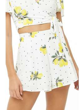 Lemon Print Polka Dot Shorts by Forever 21