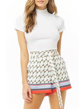 Belted Geo Mini Shorts by Forever 21