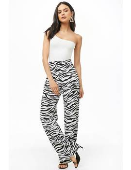 Textured Zebra Print Pants by Forever 21