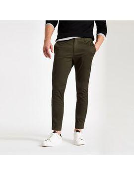 Dark Green Skinny Chino Pants by River Island
