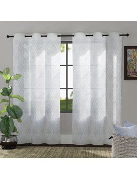 The Twillery Co. Bailey Embroidered Trellis Geometric Semi Sheer Grommet Curtain Panels & Reviews by The Twillery Co.